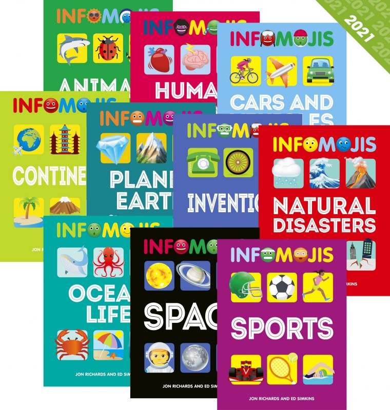 Infomojis: Animals • Cars and Vehicles • Continents • Human Body • Inventions • Natural Disasters • Oceans • Planet Earth • Space • Sports