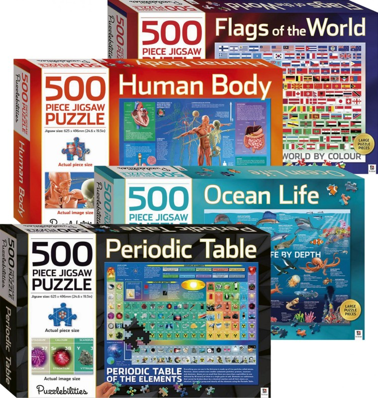 500-piece Jigsaw Puzzle (Puzzlebilities): Flags of the World  • Human Body • Ocean Life • Periodic Table