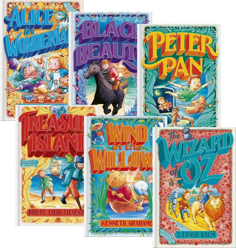 Illustrated Tales: 20,000 Leagues Under the Sea • Alice in Wonderland • Black Beauty • The Call of the Wild • Little Women • Peter Pan • Robin Hood • The Secret Garden • The Three Musketeers • Treasure Island • Wind in the Willows • The Wizard of Oz