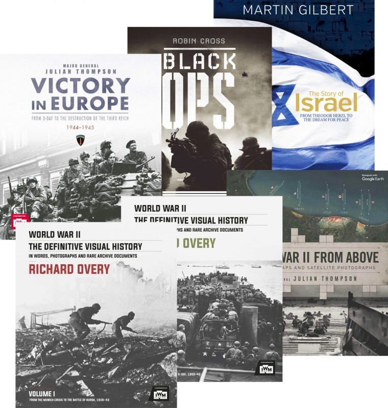 Black Ops • The Story of Israel • Victory in Europe • World War II the Definitive Visual History – Vol 1 • World War II the Definitive Visual History – Vol 2 •  World War II From Above